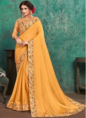 Competent Yellow Embroidered Faux Georgette Trendy Saree