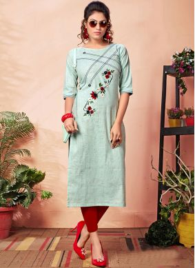 Congenial Cotton Blue Embroidered Party Wear Kurti