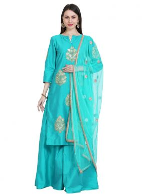 Congenial Cotton Silk Embroidered Readymade Salwar Suit