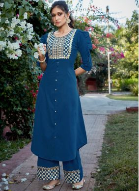 Congenial Embroidered Blue Cotton Silk Readymade Suit