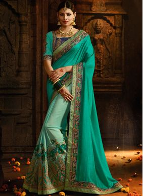 Congenial Embroidered Silk Teal Designer Half N Half Saree