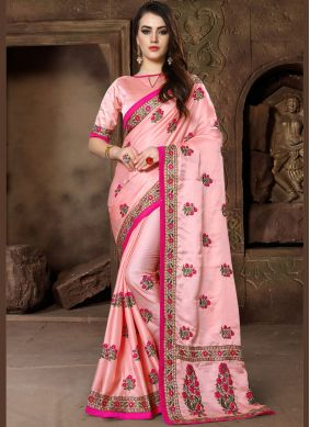 Congenial Pink Patch Border Traditional Saree