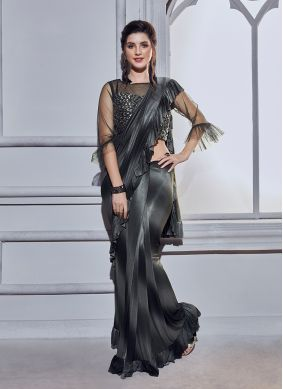 Conspicuous Embroidered Black Ruffle Saree