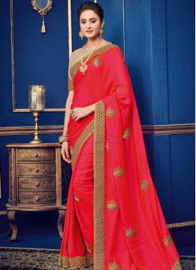 Conspicuous Red Patch Border Designer Traditional Saree