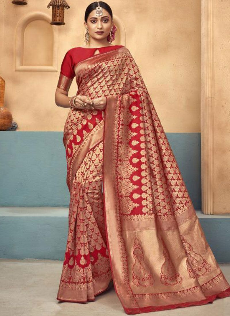 Conspicuous Red Weaving Traditional Saree