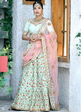 Conspicuous Sea Green Wedding Lehenga Choli