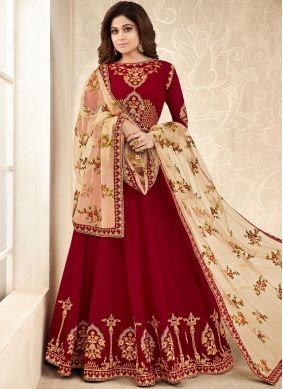 Conspicuous Shamita Shetty Maroon Faux Georgette Floor Length Anarkali Suit