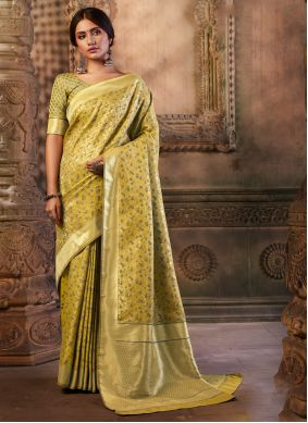 Contemporary Saree Weaving Silk in Gold