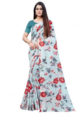 Cotton Abstract Print Multi Colour Printed Saree