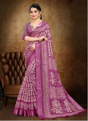 Cotton Abstract Print Printed Saree in Magenta