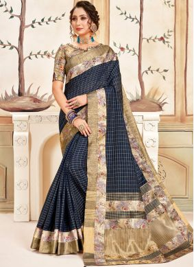 Cotton Abstract Print Printed Saree in Navy Blue