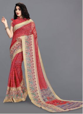 Cotton Abstract Print Printed Saree in Red