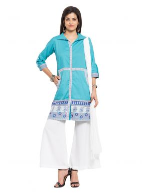 Cotton Aqua Blue Embroidered Readymade Salwar Kameez