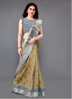 Cotton Beige Casual Saree