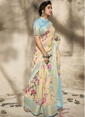 Cotton Beige Printed Saree