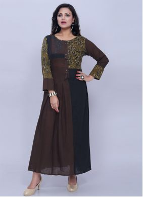 Cotton Black and Brown Printed Designer Kurti