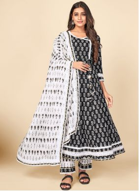 Cotton Black and Off White Anarkali Suit
