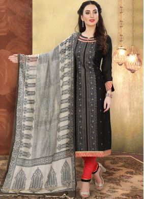 Cotton Black Churidar Designer Suit