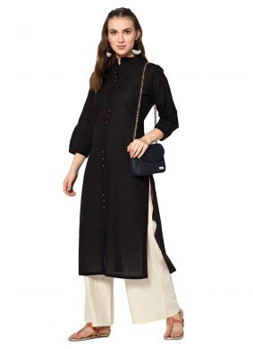 Cotton Black Plain Designer Kurti
