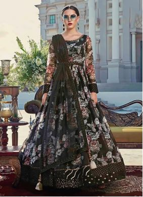 Black Cotton Black Trendy Gown