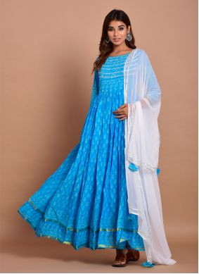 Cotton Block Print Blue Trendy Gown