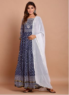 Cotton Block Print Navy Blue Designer Gown