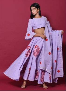 Cotton Block Print Purple Lehenga Choli