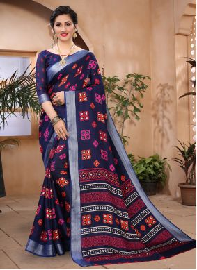 Cotton Blue Abstract Print Printed Saree