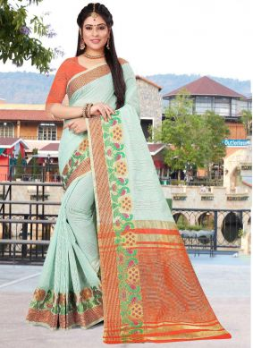 Cotton Blue Patch Border Saree