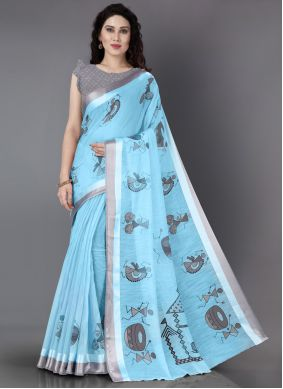 Cotton Blue Printed Casual Saree