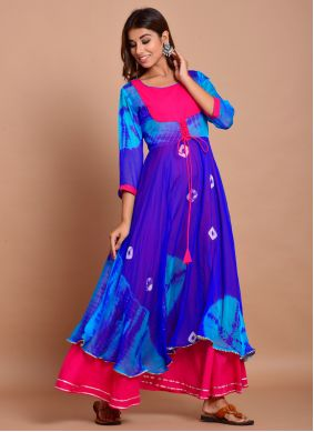 Cotton Blue Printed Trendy Gown