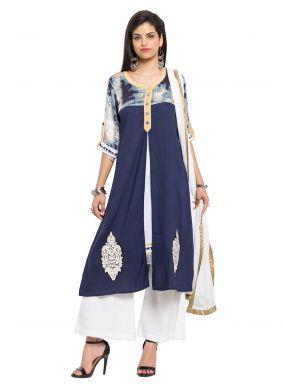 Cotton Blue Readymade Salwar Kameez