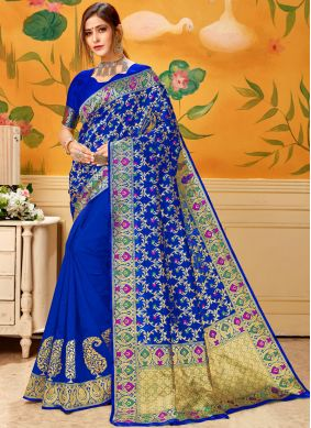 Cotton Blue Woven Casual Saree