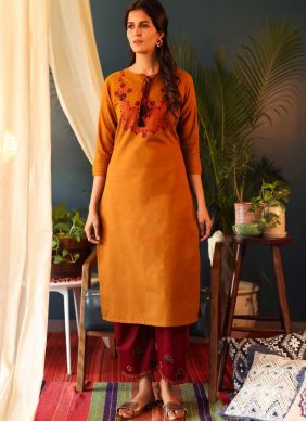Cotton Casual Kurti in Orange