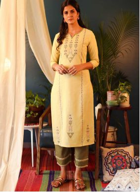 Yellow Cotton Casual Party Wear Kurti