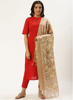 Red Cotton Ceremonial Readymade Suit