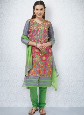 Cotton Churidar Suit in Grey