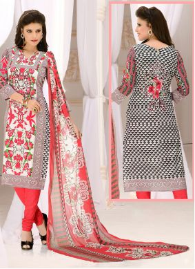 Cotton Churidar Suit in Grey and Red