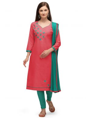Cotton Churidar Suit in Pink