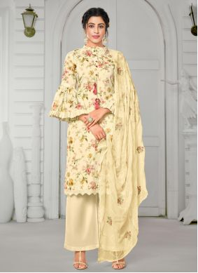 Cotton Cream Straight Salwar Kameez