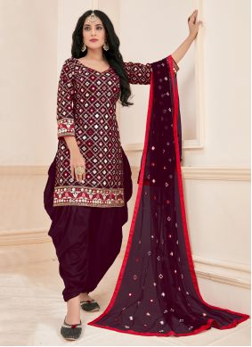 Cotton Designer Patiala Suit in Magenta