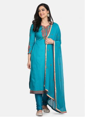 Blue Cotton Embroidered Straight Suit