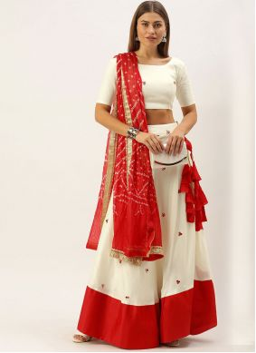 Cotton Embroidered Bollywood Lehenga Choli in Off White