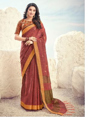 Cotton Embroidered Bollywood Saree in Brown