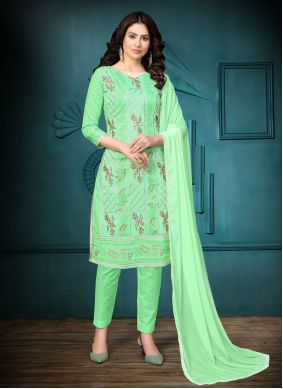Cotton Embroidered Churidar Designer Suit in Sea Green