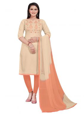 Cotton Embroidered Churidar Suit in Beige