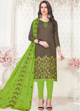 Cotton   Embroidered Churidar Suit in Grey