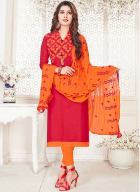 Cotton   Embroidered Churidar Suit in Hot Pink