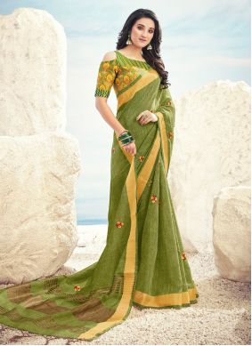 Cotton Embroidered Contemporary Saree in Green