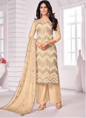 Cotton Embroidered Cream Designer Palazzo Suit